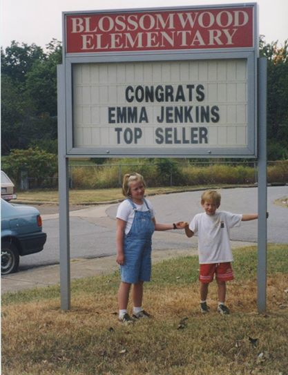 Emma, 2nd grade; Austin, kindergarten; selling wrapping paper for PTA